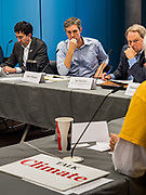06 MAY 2019 - DES MOINES, IOWA: BETO O'ROURKE, a Texas Democrat, right, leads a roundtable discussion about climate change in Des Moines Monday. O'Rouke is campaigning in Iowa to support his candidacy to be the Democratic nominee for the US Presidency in 2020.  Iowa traditionally hosts the the first election event of the presidential election cycle. The Iowa Caucuses will be on Feb. 3, 2020.              PHOTO BY JACK KURTZ