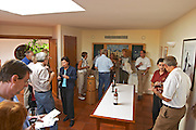 People tasting wine in the tasting room - Chateau Baron Pichon Longueville, Pauillac, Medoc, Bordeaux, Grand Cru