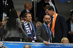 French President Emmanuel Macron, Prime Minister of Netherlands Mark Rutte attending the FIFA 2018 World Cup Qualifier between France and the Netherlands at Stade de France on August 31, 2017 in Saint-Denis near Paris, France. Photo by Laurent Zabulon/ABACAPRESS.COM