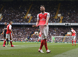 30 April 2017 London : Premier League Football : Tottenham Hotspur v Arsenal :<br /> Olivier Giroud of Arsenal reacts to a missed chance.<br /> Photo: Mark Leech