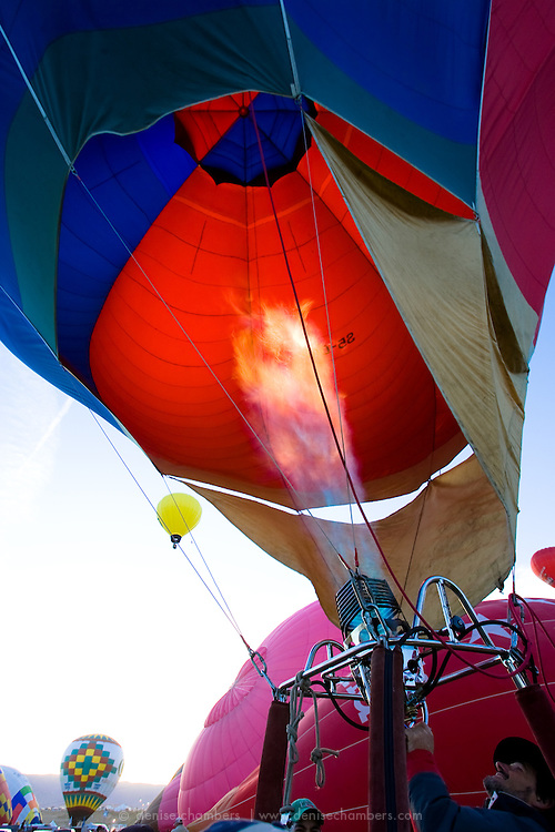Balloon pilot blasts some hot air at the Albuquerque International Balloon Fiesta