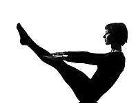 woman paripurna navasana boat pose yoga posture position in silouhette on studio white background