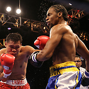 WINTER PARK, FL - AUGUST 02: Dennis Laurente (L) lands a left hook to the face of John Jackson during the Premier Boxing Champions on Bounce TV boxing match at Full Sail University - Ebbs Auditorium on August 2, 2015 in Winter Park, Florida.  Jackson won the bout. (Photo by Alex Menendez/Getty Images) *** Local Caption *** John Jackson; Dennis Laurente