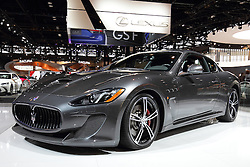 11 February 2016: Maserati Granturismo.<br /> <br /> First staged in 1901, the Chicago Auto Show is the largest auto show in North America and has been held more times than any other auto exposition on the continent.  It has been  presented by the Chicago Automobile Trade Association (CATA) since 1935.  It is held at McCormick Place, Chicago Illinois<br /> #CAS16