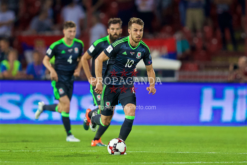 BELGRADE, SERBIA - Sunday, June 11, 2017: Wales' Aaron Ramsey during the 2018 FIFA World Cup Qualifying Group D match between Wales and Serbia at the Red Star Stadium. (Pic by David Rawcliffe/Propaganda)