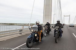 Steve Rinker riding his 1928 Indian Scout with twin sons Jared (back left) and Justin (on their Indian Powerplus') during the Motorcycle Cannonball coast to coast vintage run. Stage 14 (303 miles) from Spokane, WA to The Dalles, OR. Saturday September 22, 2018. Photography ©2018 Michael Lichter.