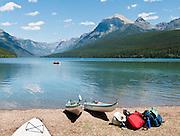 Bowman Lake, Rainbow Peak (9891 feet elevation), Glacier National Park, Montana, USA