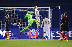 ZAGREB, Nov. 15, 2018  Goalkeeper of Croatia Lovre Kalinic during the UEFA Nations League A group 4 match between Croatia and Spain at Maksimir stadium in Zagreb, Croatia, on November 15. Croatia won 3:2. (Credit Image: © Marko Prpic/Pixsell/Xinhua via ZUMA Wire)