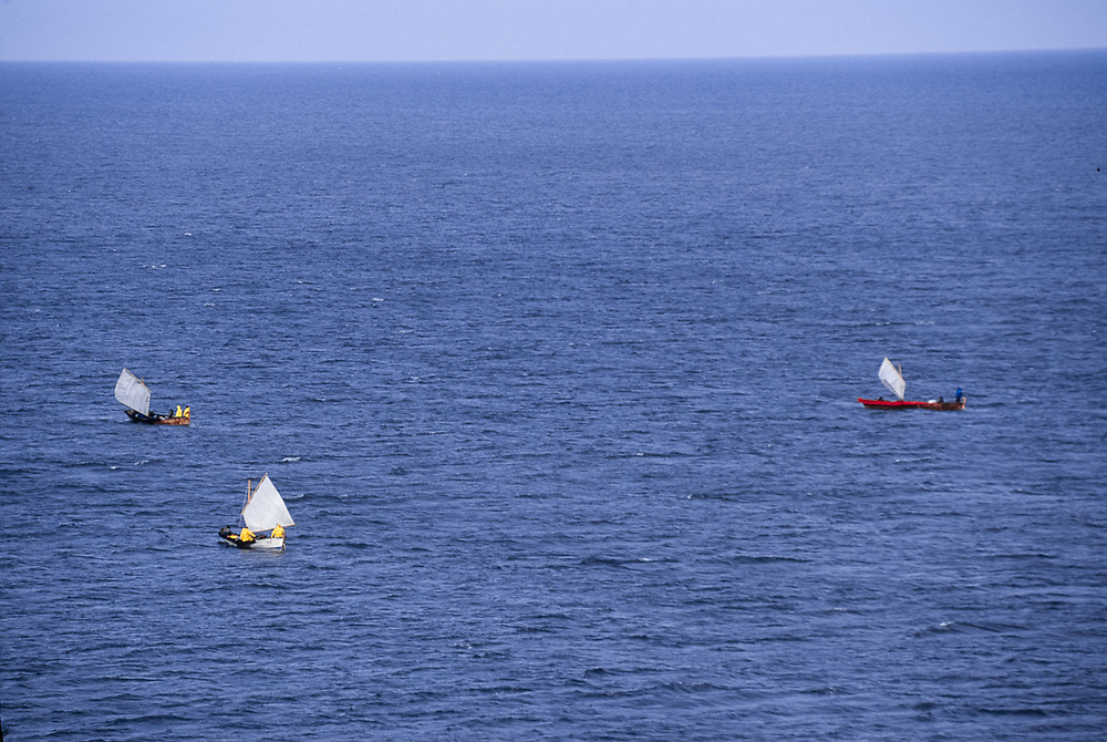 Umiaks under sail near the NE tip of Asia, Chukchi Sea, NE, Russia, 1992