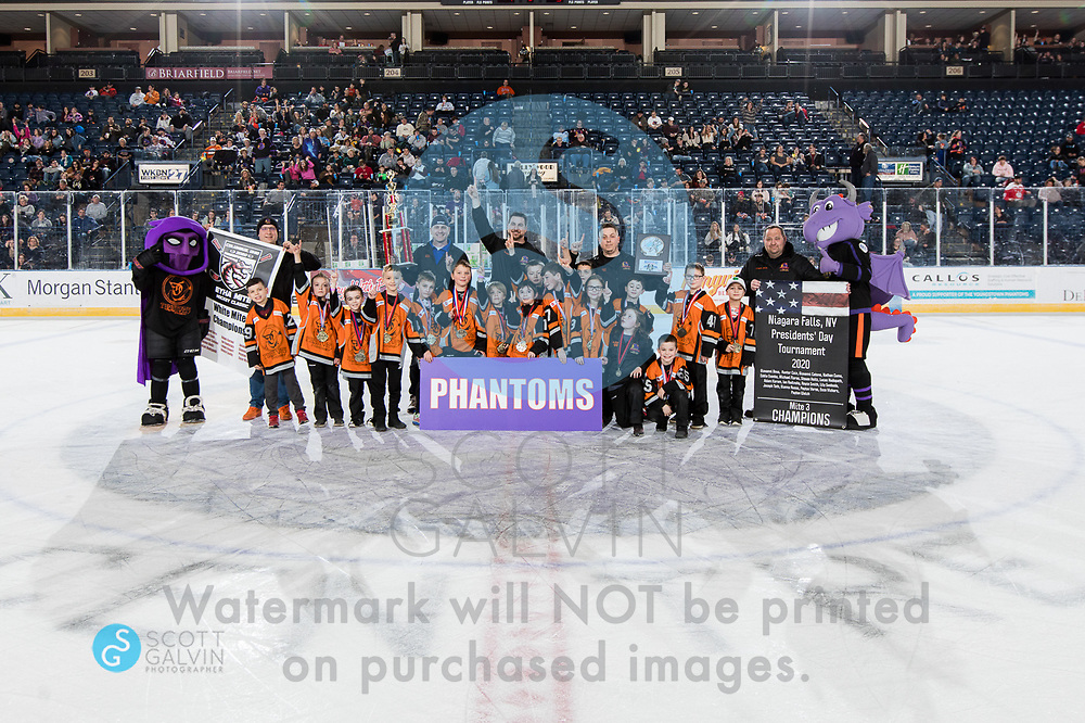 The Youngstown Phantoms lose 5-1 to the Waterloo Black Hawks at the Covelli Centre on February 29, 2020.<br /> <br /> Phantom; Sparky