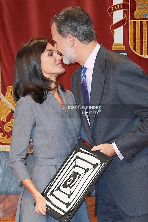 King Felipe VI of Spain, Queen Letizia of Spain attends the delivery the Award of the Observatory against Domestic and Gender Violence 2019 at Consejo General Poder Judicial on November 26, 2019 in Madrid, Spain