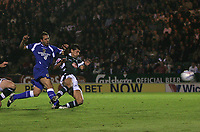 Photo: Lee Earle.<br /> Plymouth Argyle v Cardiff City. Coca Cola Championship. 12/09/2006. Cardiff's Michael Chopra (L) scores his second and their third.