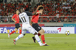 September 7, 2018 - Goyang, Gyeonggi, South Korea - September 7, 2018-Goyang, South Korea-Kim Minjae of South Korea and Mayron George of Costa Rica action on the field during an Football A Match South Korea vs Costa Rica at Goyang Sports Complex in South Korea. Match Won South KOrea, Score by 2-0. (Credit Image: © Ryu Seung-Il/ZUMA Wire)