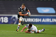 Rhys Webb of the Ospreys makes a break. European Rugby Champions Cup, pool 2 match, Ospreys v ASM Clermont Auvergne at the Liberty Stadium in Swansea, South Wales on Sunday 15th October 2017.<br /> pic by  Andrew Orchard, Andrew Orchard sports photography.
