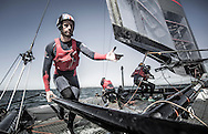 Image licensed to Lloyd Images <br /> Pictures of the BAR (Ben Ainslie Racing) Americas Cup team, skippered by Ben Ainslie (GBR) Shown here training in the UK onboard their new AC45 foiling cup yacht, prior to the start of the World series next month.<br /> Credit: Lloyd Images/BAR