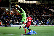 Walsall goalkeeper Liam Roberts with an acrobatic catch during the EFL Sky Bet League 1 match between Peterborough United and Walsall at London Road, Peterborough, England on 22 December 2018.