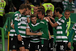 April 18, 2018 - Lisbon, Portugal - Sporting's defender Sebastian Coates (4) from Uruguay celebrates with teammates after scoring during the Portugal Cup semifinal second leg football match Sporting CP vs FC Porto at the Alvalade stadium in Lisbon on April 18, 2018. (Credit Image: © Pedro Fiuza/NurPhoto via ZUMA Press)