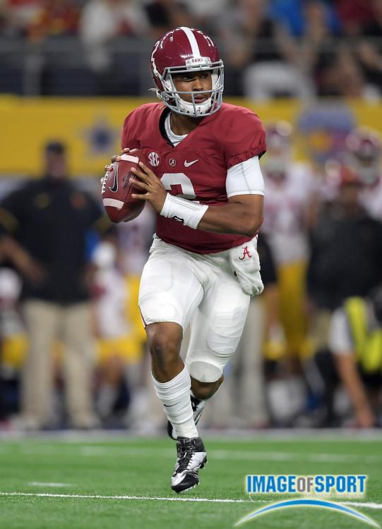 Sep 3, 2016; Arlington, TX, USA; Alabama Crimson Tide quarterback Jalen Hurts (2) throws a pass against the USC Trojans during a NCAA football game at AT&T Stadium. Alabama defeated USC 52-6.