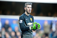 goalkeeper David De Gea of Manchester United looks on. Barclays Premier league match, Queens Park Rangers v Manchester Utd at Loftus Road in London on Saturday 17th Jan 2015. pic by John Patrick Fletcher, Andrew Orchard sports photography.