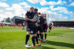 Arbroath's players cele Ryan Wallace goal. Brechin City 1 v 1 Arbroath, Scottish Football League Division One played 13/4/2019 at Brechin City's home ground Glebe Park. Arbroath win promotion.