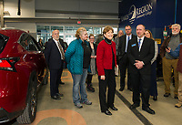 Senator Jeanne Shaheen with Asst Professor Jamie DeCato during the tour of the LRCC Automotive Technology Bldg at the Lakes Region Workforce Development Resource Summit on Friday morning.  (Karen Bobotas/for the Laconia Daily Sun)