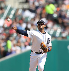 August 20, 2017 - USA - Detroit Tigers' Dixon Machado throws out the Los Angeles Dodgers' Austin Barnes during sixth inning action on Sunday, Aug. 20, 2017 at Comerica Park in Detroit, Mich. (Credit Image: © Kirthmon F. Dozier/TNS via ZUMA Wire)
