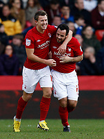Football- 2012/13 FA Cup-3rd Round-Nottingham Forest vs. Oldham Athletic- Nottingham Forest's Simon Cox celebrates scoring the first goal with Andy Reid at The City Ground