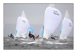 470 Class European Championships Largs - Day 2.Wet and Windy Racing in grey conditions on the Clyde...GER5025, Julian ST?CKL, Oliver SZYMANSKI, Deutscher Touring Yacht Club..
