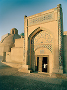 Mir-i-Arab Medressa, most famous mosque  in the the fabled city of Bukhara, on the ancient Silk Road. Uzbekistan.