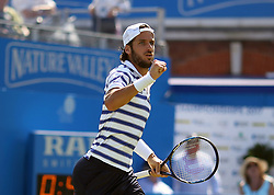 Spain's Feliciano Lopez celebrates winning the first set against Switzerland's Stan Wawrinka during day two of the 2017 AEGON Championships at The Queen's Club, London.