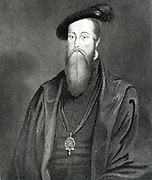 Thomas Seymour,   Lord High Admiral. Brother of Jane Seymour, Henry VIII's third wife.  Married Catherine Parr, widow of Henry VIII.  Engraving.