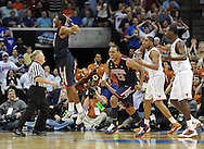 Mar 20, 2011; Tulsa, OK, USA; Arizona Wildcats forward Derrick Williams (23) and Solomon Hill #44 celebrate after beating the Texas Longhorns 70-69 during the third round of the 2011 NCAA men's basketball tournament at the BOK Center. Mandatory Credit: Peter G. Aiken-US PRESSWIRE