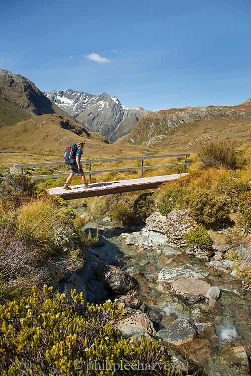 Side view of hiker crossing stream along a small footbridge, Routeburn Track, Fiordland National Park, South Island, New Zealand