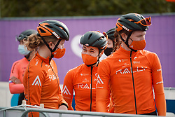 Heidi Franz (USA) laughs with her teamates at the 2020 Ronde van Vlaanderen - Elite Women, a 135.6 km road race starting and finishing in Oudenaarde, Belgium on October 18, 2020. Photo by Sean Robinson/velofocus.com