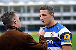 New arrival and rugby league convert Sam Burgess is interviewed during a Bath Rugby photocall at the Recreation Ground - Photo mandatory by-line: Patrick Khachfe/JMP - Mobile: 07966 386802 30/10/2014 - SPORT - RUGBY UNION - Bath - The Recreation Ground - Bath Rugby Photocall with Sam Bugess