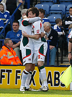 Photo: Steve Bond/Richard Lane Photography. Leicester City v Carlisle United. Coca Cola League One. 04/04/2009. Michael Bridges(L) and Danny Graham (R) celebrate Bridges goal