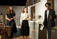 """Martha Brewster (Kaela Sweetland), Abby Brewster (Emily Paranto) and Mortimer Brewster (Reese Miles) during a dress rehearsal scene for """"Arsenic and Old Lace"""" at Laconia High School on Wednesday evening.  (Karen Bobotas/for the Laconia Daily Sun)"""