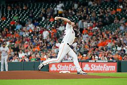 May 23, 2018 - Houston, TX, U.S. - HOUSTON, TX - MAY 23: Houston Astros starting pitcher Justin Verlander (35) delivers the pitch in the first inning during MLB baseball game between the Houston Astros and the San Francisco Giants on May 23, 2018 at Minute Maid Park in Houston, Texas. (Photo by Juan DeLeon/Icon Sportswire) (Credit Image: © Juan Deleon/Icon SMI via ZUMA Press)