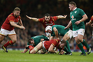 Alun Wyn Jones of Wales © is stopped by the Irish defence. RBS Six Nations 2017 international rugby, Wales v Ireland at the Principality Stadium in Cardiff , South Wales on Friday 10th March 2017.  pic by Andrew Orchard, Andrew Orchard sports photography