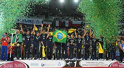10-10-2010 VOLLEYBAL: FIVB 2010 WORLD CHAMPIONSHIP: CUBA - BRAZIL: ROME<br /> Brazil players celebrating victory - Cuba vs Brazil 0-3 final<br /> ©2010- Baldassarre/Staccioli Insidefoto / WWW.FOTOHOOGENDOORN.NL