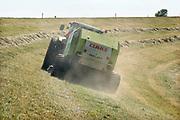 Nederland, Ooijpolder, 8-8-2020 Langs de dijk van de rivier de Waal is een loonwerker bezig met gras binnenhalen. Daarna wordt het tot balen hooi verpakt en als wintervoer aan het vee, de koeien, gevoerd. Door de aanhoudende droogte groeit het gras minder hard waardoor er minder binnengehaald kan worden . Boeren die de dijk mogen maaien zijn verplicht dit ook te doen.Foto: ANP/Hollandse Hoogte/ Flip Franssen
