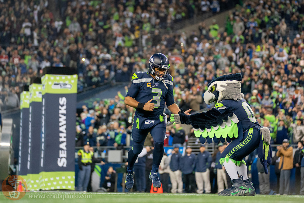 December 29, 2019; Seattle, Washington, USA; Seattle Seahawks quarterback Russell Wilson (3) before the game against the San Francisco 49ers at CenturyLink Field.