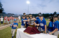 """Gilford Cal Ripken's Team Cantin takes the coveted """"Cantin Cup"""" during the first annual matchup of Laconia Little League and Gilford Cal Ripken Saturday evening under the lights at Francouer Field with a final score of 4-1.  (Karen Bobotas/for the Laconia Daily Sun)"""