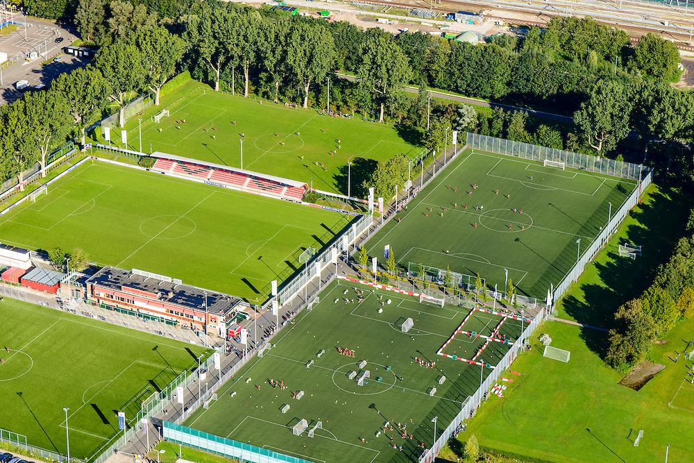 Nederland, Noord-Holland, Amsterdam, 27-09-2015; Zuid-as, <br /> Sportpark Goed Genoeg met velden van Amsterdamsche Football Club (AFC).<br /> <br /> Fields of Amsterdam Football Club at the start of the South axis, Amsterdam equivalent of 'the City', financial district.<br /> luchtfoto (toeslag op standard tarieven);<br /> aerial photo (additional fee required);<br /> copyright foto/photo Siebe Swart