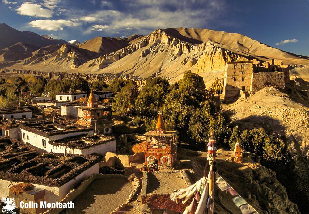 Ancient village of Tsarang above Kali Gandaki gorge, Kingdom of Mustang, Nepal