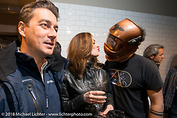 Gianluca Renato of Metzeler at the Mr. Martini Friday night party celebrating the opening of his bar / restaurant at the workshop during the Motor Bike Expo. Verona, Italy. January 22, 2016.  Photography ©2016 Michael Lichter.