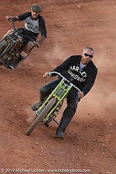 Carey Maynell riding his 1927 Harley-Davidson board track racer in the Sons of Speed banked oval track at the Full Throttle Saloon during the Sturgis Black Hills Motorcycle Rally. Sturgis, SD, USA. Tuesday, August 6, 2019. Photography ©2019 Michael Lichter.