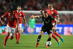 18 October 2017 -  UEFA Champions League - (Group A) - SL Benfica v Manchester United  - Nemanja Matic of Manchester United in action with (L-R) Filipe Augusto, Pizzi and Ljubomir Fejsa of Benfica - Photo: Marc Atkins/Offside