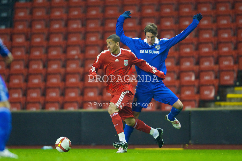 LIVERPOOL, ENGLAND - Thursday, February 5, 2009: Liverpool's Nathan Eccleston in action against Chelsea's Fabio Borini during the FA Youth Cup 5th Round match at Anfield. (Mandatory credit: David Rawcliffe/Propaganda)