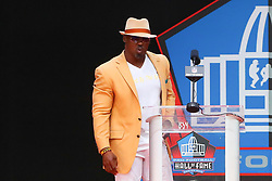 August 4, 2018 - Canton, OH, U.S. - CANTON, OH - AUGUST 04:  Brian Dawkins makes his speech during the 2018 Hall of Fame Enshrinement Ceremony on August 4, 2018 at the Tom Benson Hall of Fame Stadium in Canton, Ohio  (Photo by Rich Graessle/Icon Sportswire) (Credit Image: © Rich Graessle/Icon SMI via ZUMA Press)